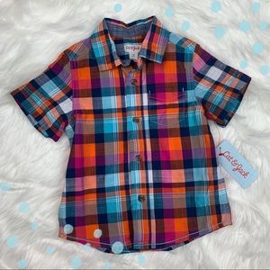 NWT Toddler Boys Cat & Jack plaid button up top 2T